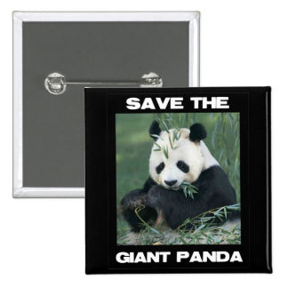 Save the Giant Panda 2 Inch Square Button