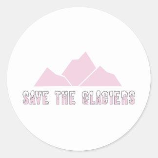 save the glaciers classic round sticker