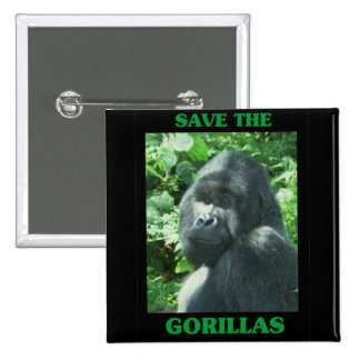 Save the Gorillas Pinback Buttons