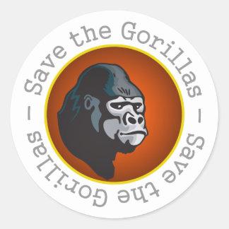 Save the Gorillas Classic Round Sticker