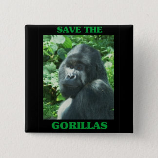 Save the Gorillas Pinback Button