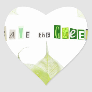 Save the Green, ecology concept Heart Sticker