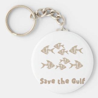 Save The Gulf - Brown School of Fish Basic Round Button Keychain