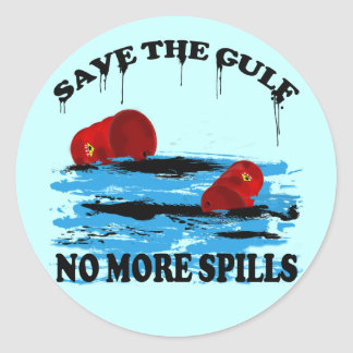 SAVE THE GULF NO MORE SPILLS CLASSIC ROUND STICKER