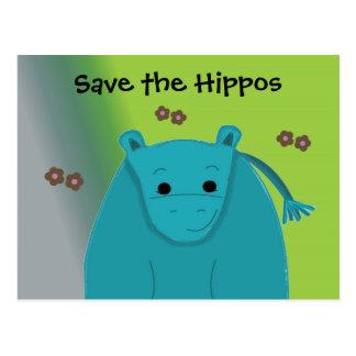 Save the Hippos - Blue Hippopotamus Postcard
