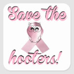 Save the hooters, breast cancer awareness stickers