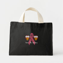 Save The Hooters Breast Cancer Owls Mini Tote Bag