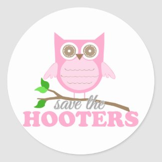 Pink Owl - Save the Hooters Round Sticker