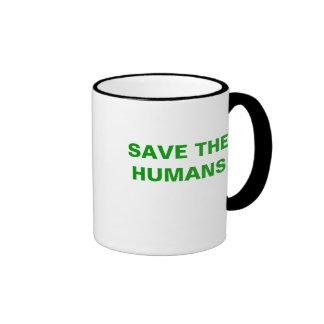 SAVE THE HUMANS RINGER COFFEE MUG