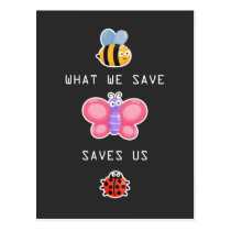 Save the Insects Cute Bee Butterfly and Bug Care Postcard