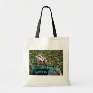 SAVE THE KITTEH FROM EBIL TWIGS! CANVAS BAGS