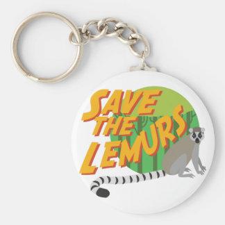 Save the Lemurs Basic Round Button Keychain