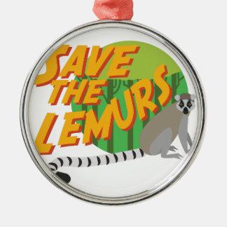 Save the Lemurs Metal Ornament