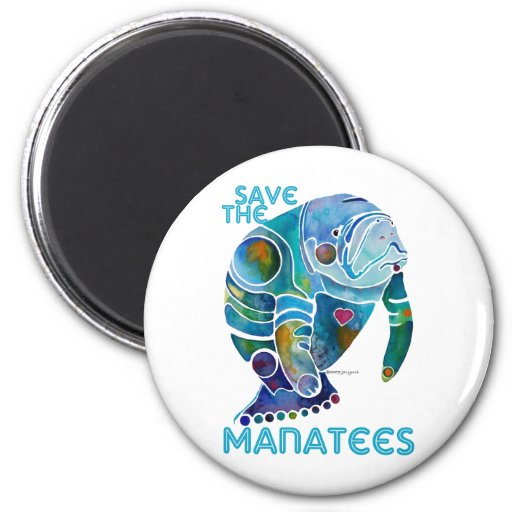 Save The Manatee 2 Inch Round Magnet