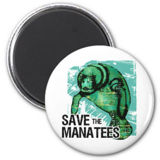 Save the Manatees 2 Inch Round Magnet