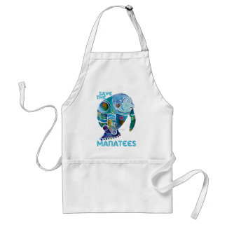 Save the Manatees Blue Adult Apron