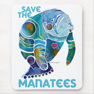 Save the Manatees Blue Mouse Pad