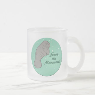 Save the Manatees! Frosted Glass Coffee Mug