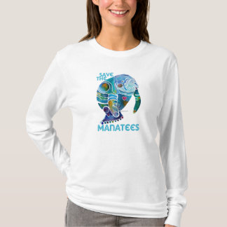 Save the Manatees Ladies Long Sleeved Shirt