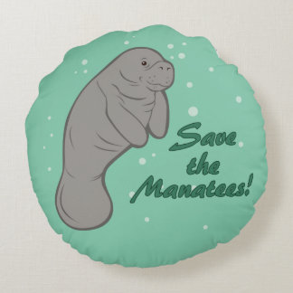 Save the Manatees! Round Pillow