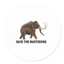Save the mastodons classic round sticker