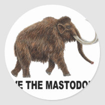 Save the mastodons classic round sticker