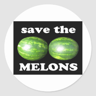 save the melons on black classic round sticker