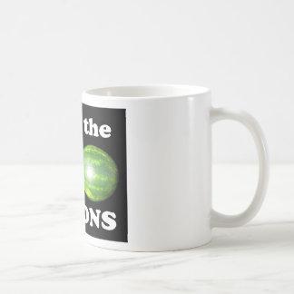 save the melons on black mug