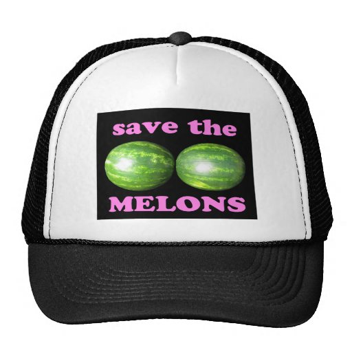 save the melons on black with pink trucker hat