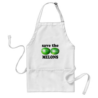 save the melons on white adult apron