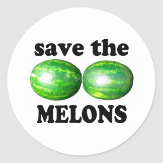 save the melons on white classic round sticker