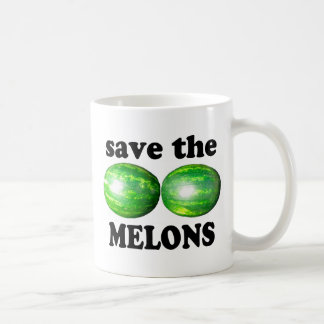 save the melons on white coffee mug