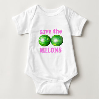 save the melons on white with pink baby bodysuit
