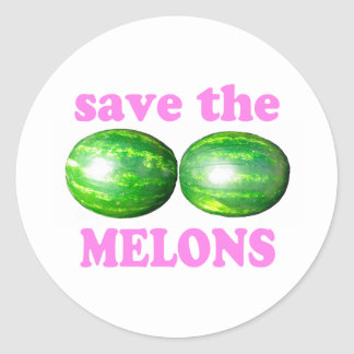 save the melons on white with pink classic round sticker