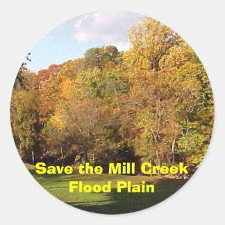 Save the Mill Creek Flood Plain Fall Classic Round Sticker