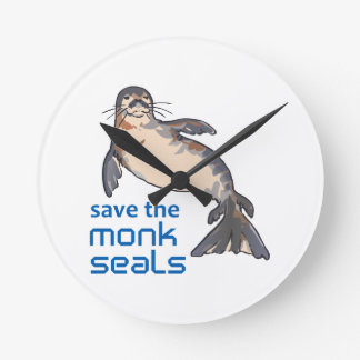 Save The Monk Seals Round Wall Clock