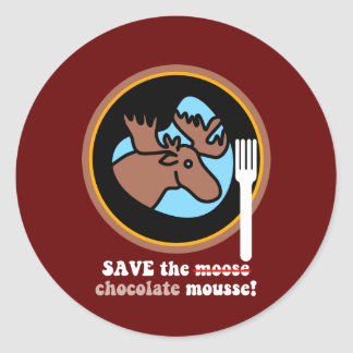 Save the moose classic round sticker