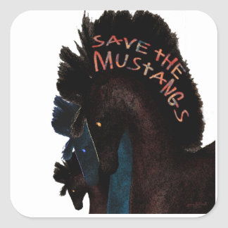 Save the Mustangs Square Sticker