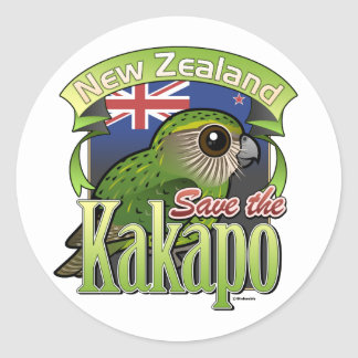 Save the New Zealand Kakapo Classic Round Sticker