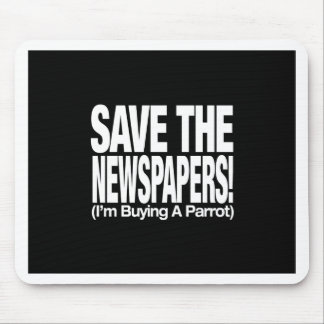 save_the_newspapers_parrot_btn_blk tapetes de ratón