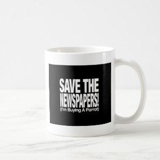 save_the_newspapers_parrot_btn_blk tazas de café