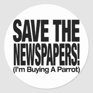 save_the_newspapers_parrot_t etiqueta redonda