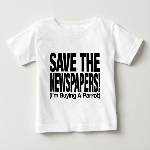 save_the_newspapers_parrot_t playeras