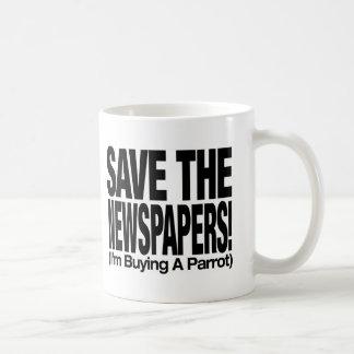 save_the_newspapers_parrot_t taza de café