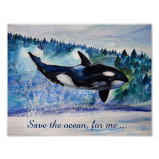 Save the ocean  whale  Poster