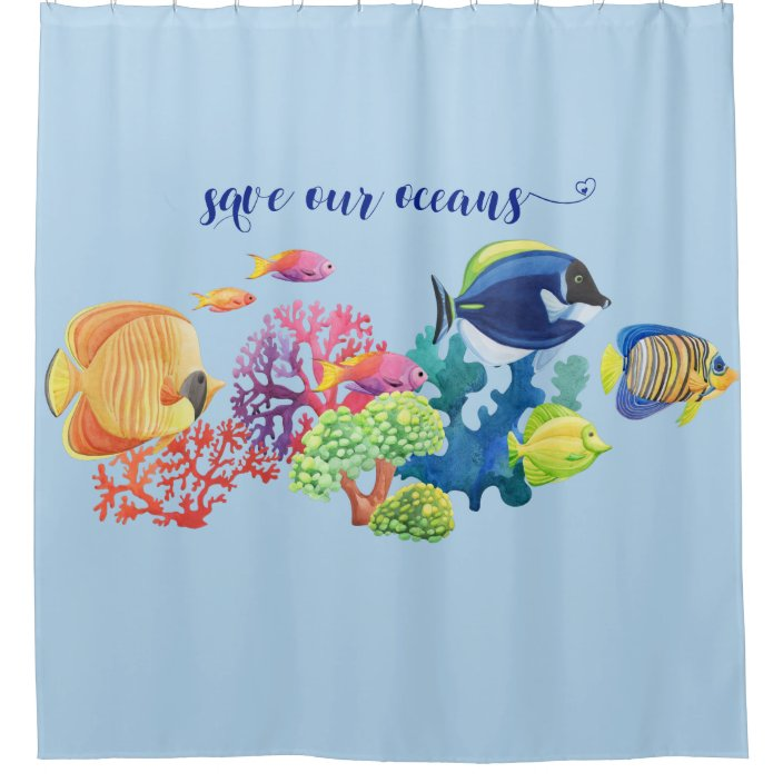 save the oceans colorful fish coral reef shower curtain zazzle com