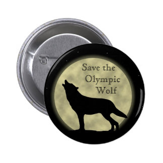 Save the Olympic Wolf Pinback Button