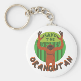 Save the Orangutan Basic Round Button Keychain
