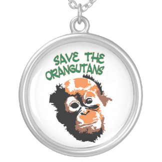 Save the Orangutans art Silver Plated Necklace