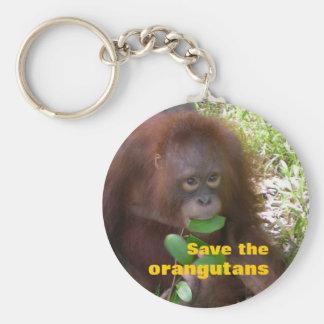 Save the Orangutans Basic Round Button Keychain